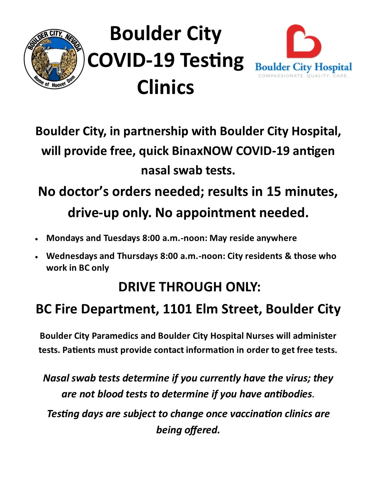 Clinic Flyer January Additional Testing Opportunities