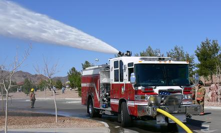 A fire truck spraying water